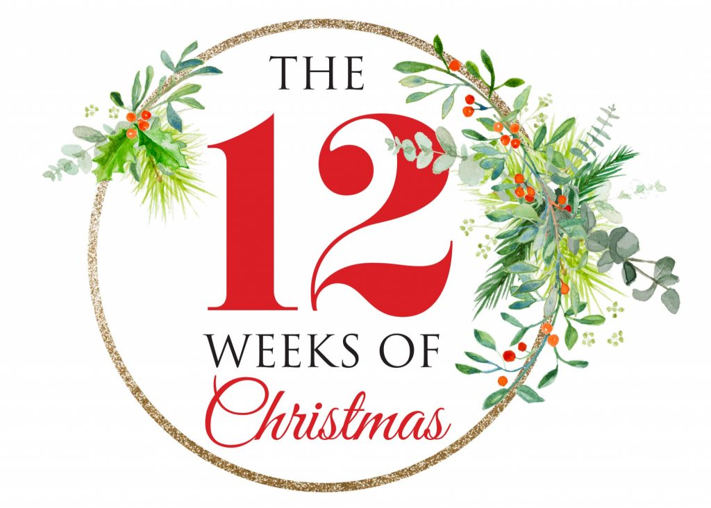 Logo for 12 Weeks of Christmas promotion benefiting Running Excels and other small businesses and organized by the Beverly Area Planning Association