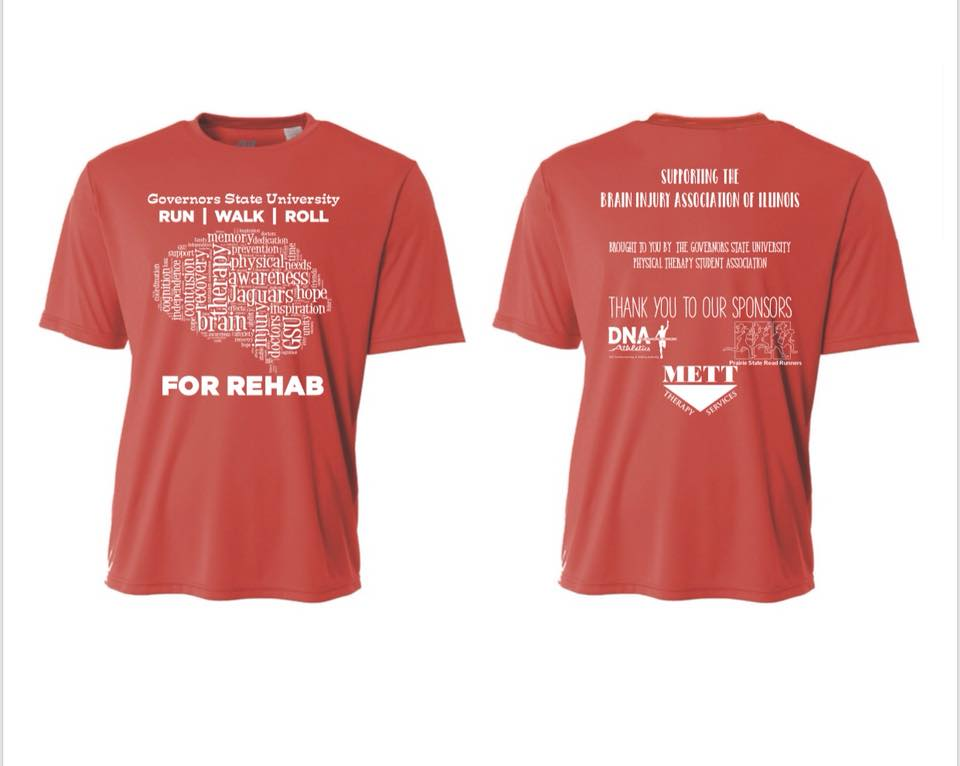 Tshirts for Run, Walk, or Roll for Rehab 5K on April 8, 2018 at Governor's State University
